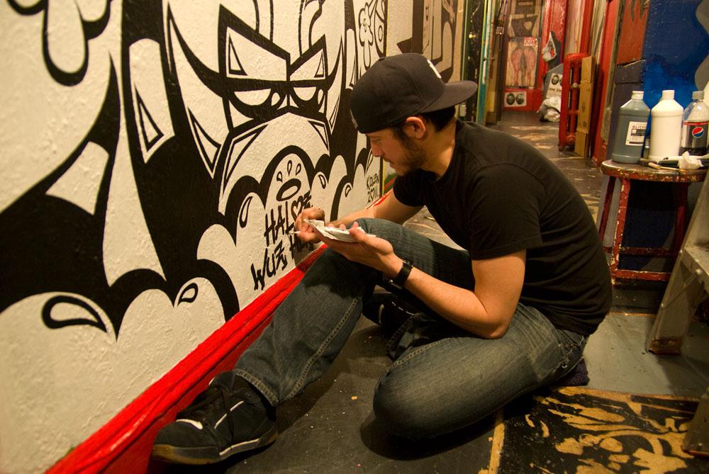 """Hallway mural """"Haloz Wuz Here"""" by Kid Lew"""